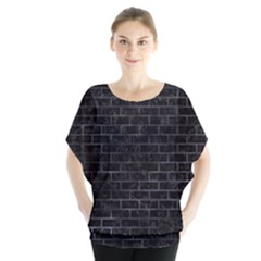 Brick1 Black Marble & Black Watercolor Blouse by trendistuff