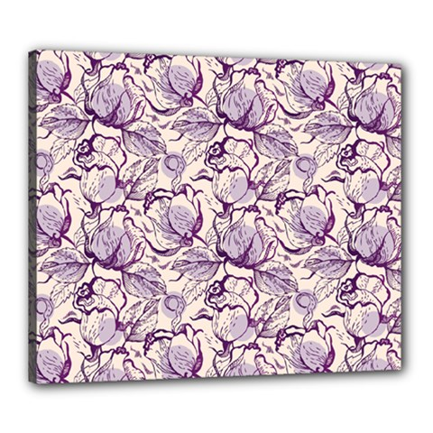 Vegetable Cabbage Purple Flower Canvas 24  X 20  by Mariart