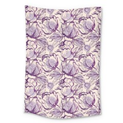 Vegetable Cabbage Purple Flower Large Tapestry by Mariart
