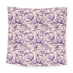 Vegetable Cabbage Purple Flower Square Tapestry (large) by Mariart