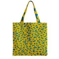 Blue Yellow Space Galaxy Zipper Grocery Tote Bag by Mariart