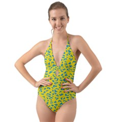 Blue Yellow Space Galaxy Halter Cut Out One Piece Swimsuit