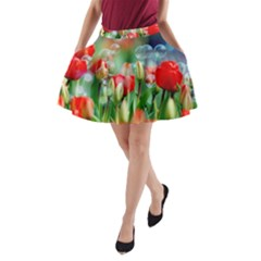 Colorful Flowers A Line Pocket Skirt by Mariart