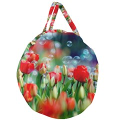 Colorful Flowers Giant Round Zipper Tote by Mariart