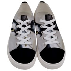 Cat Face Cute Black White Animals Women s Low Top Canvas Sneakers
