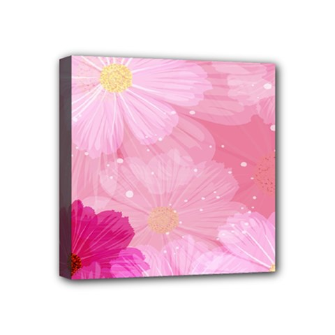 Cosmos Flower Floral Sunflower Star Pink Frame Mini Canvas 4  X 4  by Mariart