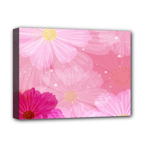Cosmos Flower Floral Sunflower Star Pink Frame Deluxe Canvas 16  X 12   by Mariart