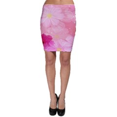 Cosmos Flower Floral Sunflower Star Pink Frame Bodycon Skirt by Mariart