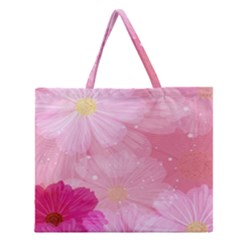 Cosmos Flower Floral Sunflower Star Pink Frame Zipper Large Tote Bag by Mariart