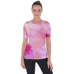 Cosmos Flower Floral Sunflower Star Pink Frame Short Sleeve Top