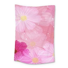 Cosmos Flower Floral Sunflower Star Pink Frame Small Tapestry by Mariart