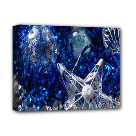Christmas Silver Blue Star Ball Happy Kids Deluxe Canvas 14  X 11  by Mariart