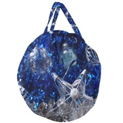 Christmas Silver Blue Star Ball Happy Kids Giant Round Zipper Tote
