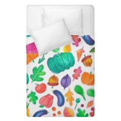 Pattern Autumn White Duvet Cover Double Side (single Size) by Mishacat