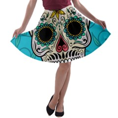 Sugar Skull New 2015 A Line Skater Skirt by crcustomgifts