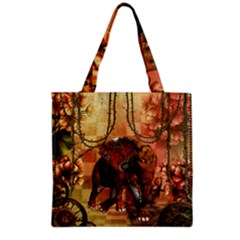 Steampunk, Steampunk Elephant With Clocks And Gears Grocery Tote Bag by FantasyWorld7
