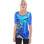 dolphines on the Coral Reef wide neckline tee