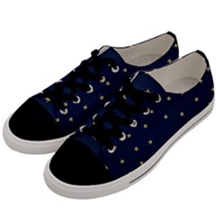 Navy/gold Stars Men s Low Top Canvas Sneakers by Colorfulart23