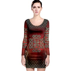 The Celtic Knot With Floral Elements Long Sleeve Bodycon Dress by FantasyWorld7