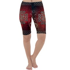 The Celtic Knot With Floral Elements Cropped Leggings  by FantasyWorld7