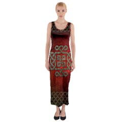 The Celtic Knot With Floral Elements Fitted Maxi Dress by FantasyWorld7