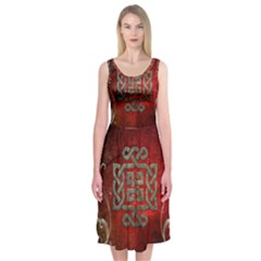 The Celtic Knot With Floral Elements Midi Sleeveless Dress by FantasyWorld7