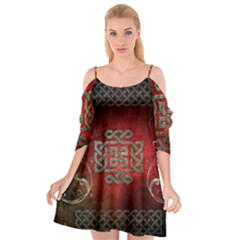 The Celtic Knot With Floral Elements Cutout Spaghetti Strap Chiffon Dress by FantasyWorld7