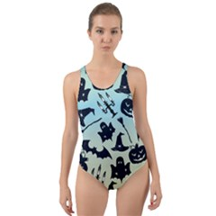 Spooky Halloween Cut Out Back One Piece Swimsuit