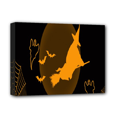 Day Hallowiin Ghost Bat Cobwebs Full Moon Spider Deluxe Canvas 16  X 12   by Mariart