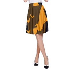 Day Hallowiin Ghost Bat Cobwebs Full Moon Spider A Line Skirt by Mariart