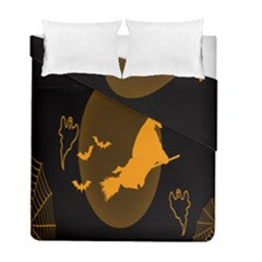 Day Hallowiin Ghost Bat Cobwebs Full Moon Spider Duvet Cover Double Side (full/ Double Size) by Mariart