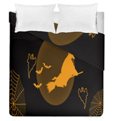 Day Hallowiin Ghost Bat Cobwebs Full Moon Spider Duvet Cover Double Side (queen Size) by Mariart