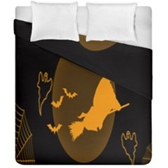 Day Hallowiin Ghost Bat Cobwebs Full Moon Spider Duvet Cover Double Side (california King Size) by Mariart