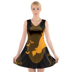 Day Hallowiin Ghost Bat Cobwebs Full Moon Spider V Neck Sleeveless Skater Dress by Mariart