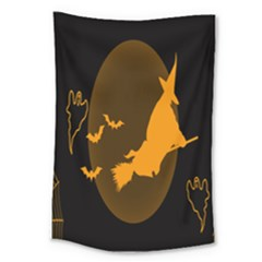 Day Hallowiin Ghost Bat Cobwebs Full Moon Spider Large Tapestry by Mariart
