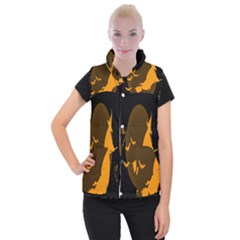 Day Hallowiin Ghost Bat Cobwebs Full Moon Spider Women s Button Up Puffer Vest by Mariart