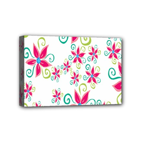 Flower Beauty Sexy Rainbow Sunflower Pink Green Blue Mini Canvas 6  X 4  by Mariart