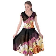 Flower Back Leaf Polka Dots Black Pink Cap Sleeve Wrap Front Dress by Mariart