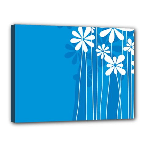Flower Blue Canvas 16  X 12  by Mariart