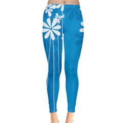 Flower Blue Leggings  by Mariart