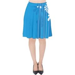 Flower Blue Velvet High Waist Skirt by Mariart