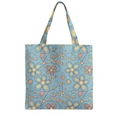Flower Blue Butterfly Bird Yellow Floral Sexy Zipper Grocery Tote Bag by Mariart