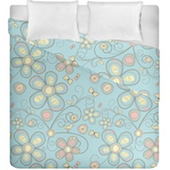 Flower Blue Butterfly Bird Yellow Floral Sexy Duvet Cover Double Side (king Size) by Mariart