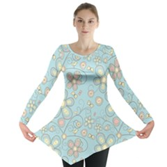 Flower Blue Butterfly Bird Yellow Floral Sexy Long Sleeve Tunic  by Mariart