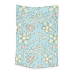 Flower Blue Butterfly Bird Yellow Floral Sexy Small Tapestry by Mariart