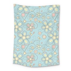 Flower Blue Butterfly Bird Yellow Floral Sexy Medium Tapestry by Mariart