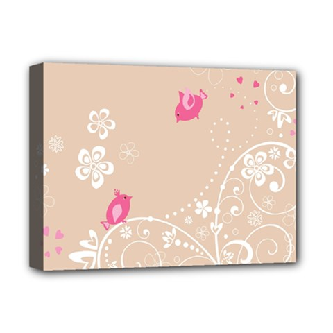 Flower Bird Love Pink Heart Valentine Animals Star Deluxe Canvas 16  X 12