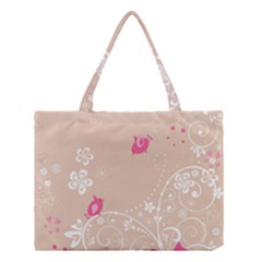 Flower Bird Love Pink Heart Valentine Animals Star Medium Tote Bag by Mariart