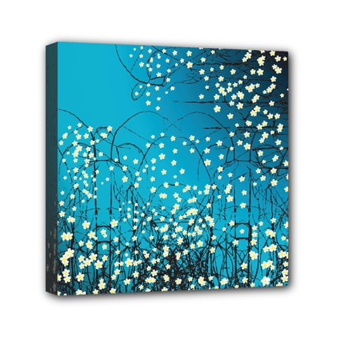 Flower Back Leaf River Blue Star Mini Canvas 6  X 6  by Mariart