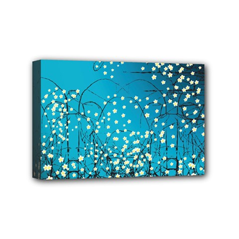 Flower Back Leaf River Blue Star Mini Canvas 6  X 4  by Mariart